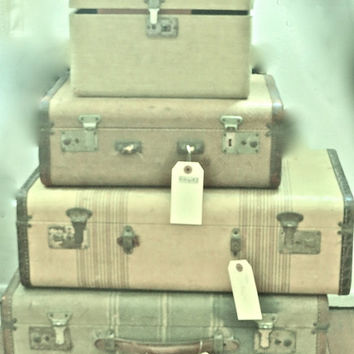 Vintage Photography, Vintage Luggage, Green Art, Shabby Chic Art, Rustic Art, Retro Art, Old Luggage, Green Art Print
