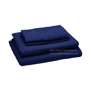 Twin XL / Dorm / Hospital Bed Sheets - Navy - Deep Sleep 1800 Thread Count Sheet Set - Breathable, Moisture Wicking, Ultra Soft, Wrinkle Free