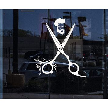 Window Vinyl Wall Decal Hairdresser Hipster Barbershop Hair Hairstyle Salon Stickers Unique Gift (1888igw)