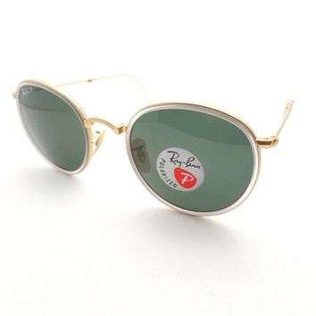 Ray Ban Folding 3517 112/N5 Matte Crystal Gold Polar 51 Sunglasses Authentic