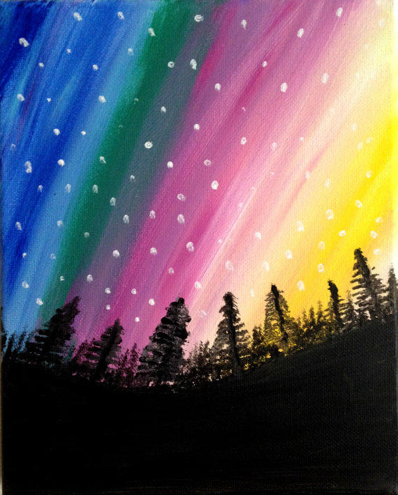 Northern Lights Painting Acrylic Painting From Preethiart