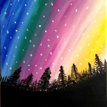Northern Lights Painting Acrylic painting canvas art Cosmic night sky painting Wall decor Alaska painting Aurora Borealis Gift Wall art Tree