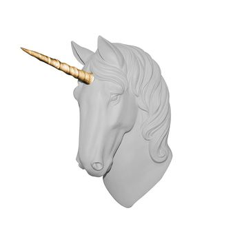 The Luna | Large Unicorn Head | Faux Taxidermy |  White + Gold Staff Resin