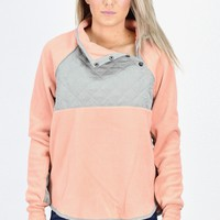 Quilted Snap Fleece Pullover {Blush}