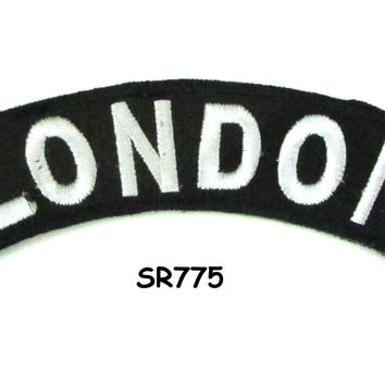 London White on Black Small Rocker Iron on Patches for Biker Vest and Jacket