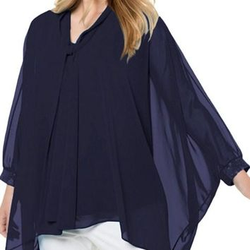 Navy Blue Long Sleeve Chiffon Overlay Plus Size Blouse