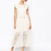 Soma London Lace Insert Maxi Dress With Frill Sleeve