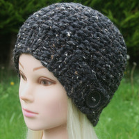 Hand Knit Hat- Women's Hat- Rustic Mega chunky with wool- charcoal tweed with black wooden button