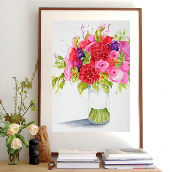 Wall Decor Flower Watercolor Painting, Floral Giclee Print, Kid Wall Art, Red Dahlia Pink Rose Bouquet Arrangement,Still Life Illustration