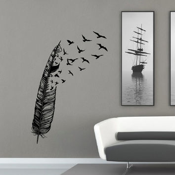 Feather Flying Bird Wall Decal Vinyl Stickers Abstract Wall Art Housewares Birds Nib H & Feather Flying Bird Wall Decal Vinyl from FabWallDecals on Etsy