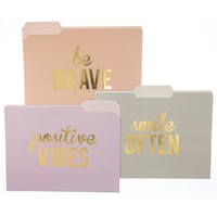 Be Brave File Folder Set in Pink, Violet and Grey
