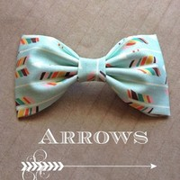 Mint Green multi colored Arrows handmade fabric bow tie or hair bow from Bowlicious Divas Bowtique