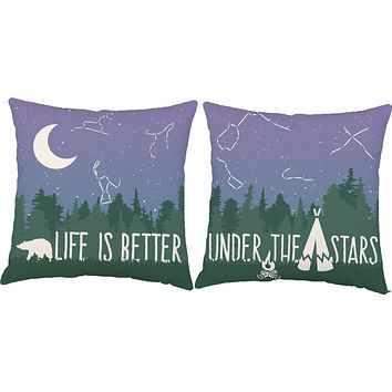 Life is Better Under the Stars Camping Throw Pillows