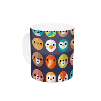 "Daisy Beatrice ""Smiley Faces Repeat"" Animal Pattern Ceramic Coffee Mug"