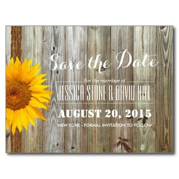 Country Sunflower Twine & Barn Wood Save the Date