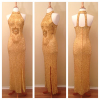 Beautiful Full Length Beaded Gold Gown - Burlesque Costume - Old Hollywood Glamour - Size Medium with Slit Halter Straps and So Much Detail