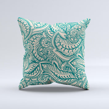 Delicate Green Tan Floral Lace Ink-Fuzed Decorative Throw Pillow