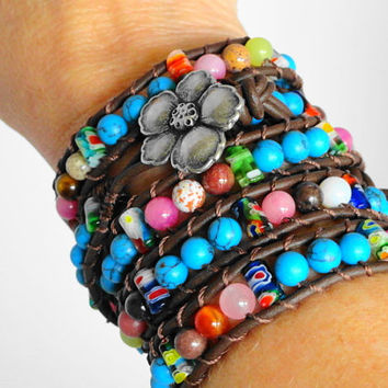 Turquoise Multicolor Beaded Leather Wrap Bracelet - Chan Luu Style leather wrap - 5 wrap leather bracelet on Brown Leather Flower button