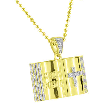 Holy Bible Book Cross Pendant Sterling Silver Gold Finish Jesus Lab Diamonds Necklace