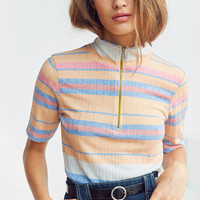 Silence + Noise Mavus Half-Zip Ribbed Top | Urban Outfitters