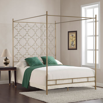 Retro Glitz Quatrefoil Queen Canopy Bed | Overstock.com Shopping - The Best Deals on Beds