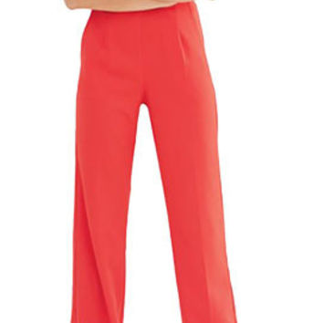 Red Harness Strap Detail Wide Leg Jumpsuit