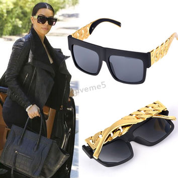 2015New design Metal Gold Chain Twisted Fashion Sunglasses Female Oversized Big Frame Women/Men Vintage Sunglasses #3