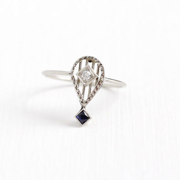 Antique 10k White Gold Diamond & Created Blue Sapphire Stick Pin Conversion Ring - Vintage Art Deco 1920s Size 7 3/4 Filigree Fine Jewelry