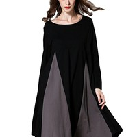 Women's Black Cotton Dress Long Sleeve Casual Loose Fitting Plus Size Autumn Spring