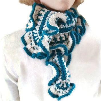 Ruffled Scarflette, Scarf, Neckwarmer Crocheted in Teal & Cream. Womens Fashion Accessories, Winter Warmers.