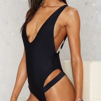Nasty Gal Strapped in the Closet Plunging Swimsuit