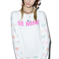 Wildfox Couture My Sweet Heart Baggy Beach Jumper Clean White