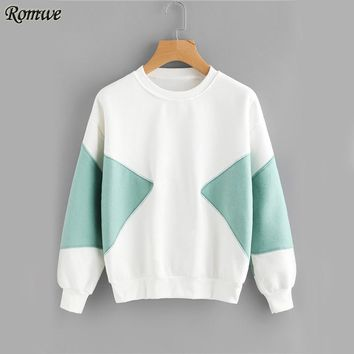 Patchwork White Brief Sweatshirt Women Color Block Autumn Sweatshirt O Neck Pullover Long Sleeve Sweatshirt