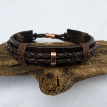 Braided Leather Bracelet, Men's Leather Bracelet, Men's Copper bracelet, Copper Bracelet, Leather Bracelet, ColeTaylorDesigns