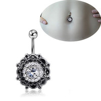 Retro Flower Body Piercing Jewelry Navel Ring Belly Button Ring Crystal Rhinestone Barbell Bar