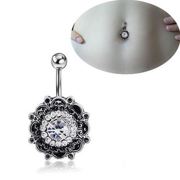 Retro Flower Body Piercing Jewelry Navel Ring Belly Button Ring Crystal Rhinestone Barbell Bar = 1645689476