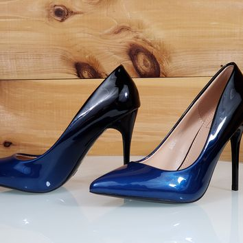 "In Demand Blue Patent Ombre Blend Pointy Toe Pump Shoe 4.5"" Stiletto High Heels"