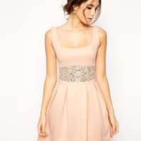 ASOS | ASOS Scuba Debutante Dress With Embellished Waist at ASOS