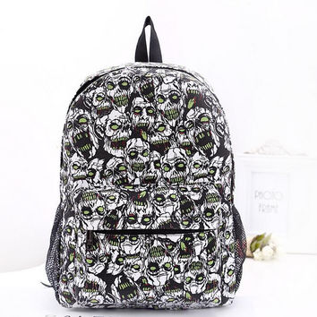 School Girl Skull Print Canvas Gothic Backpack College Style Fashion Punk Bag Free Shipping
