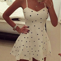 White Polka Dot Spaghetti Strap Dress