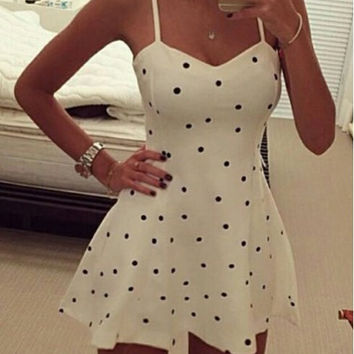 White Polka Dot Spaghetti Strap Skater Dress
