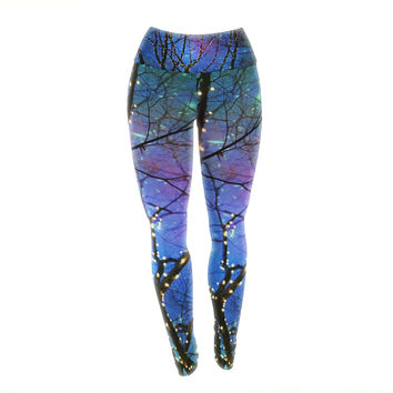 "Sylvia Cook ""Holiday Lights"" Christmas Yoga Leggings"