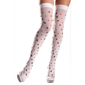 Be Wicked BW507 Nylon Playing Card Pattern Thigh Highs