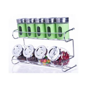 9 Canister Metal & Glass Spice Shakers Glass Jars 2 Tier Wire Rack Display Green
