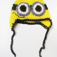 FREE SHIPPING - Crochet Despicable Me Minion Earflap Hat - Yellow, Black, White, Brown