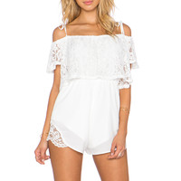 OH MY LOVE Just My Imagination Romper in Cream