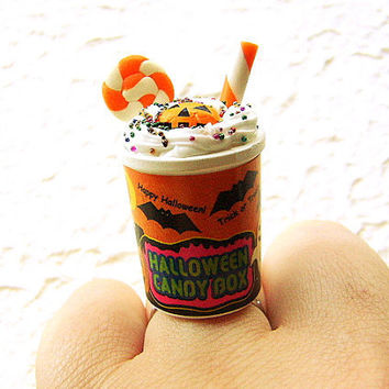 Halloween Ring Miniature Food Jewelry Ice Cream Candy CIJ Christmasinjuly