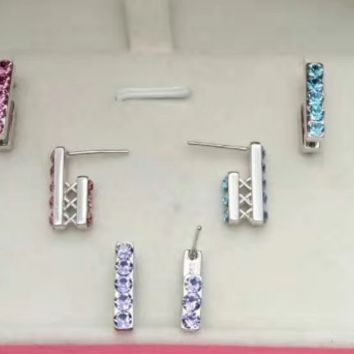 925 sterling silver stick with zircon earrings E4847-0414 -Gifts box
