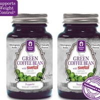 NEW!!! 100% Pure Green Coffee Bean Extract with SVETOL - 60 Vegetarian Capsules (2 Bottles)   deviazon.com