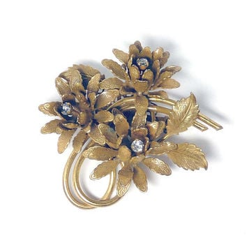 Flower Trembler Brooch - Three Goldtone Blossoms with Trembling Rhinestones in Center
